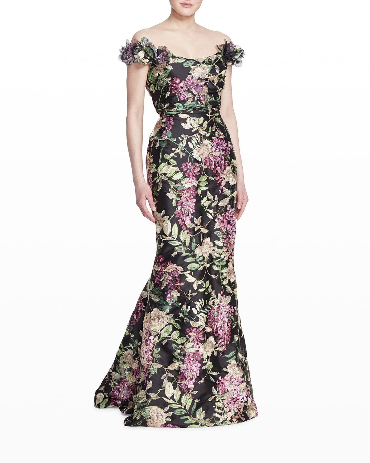 Off-The-Shoulder Floral-Embroidered Gown