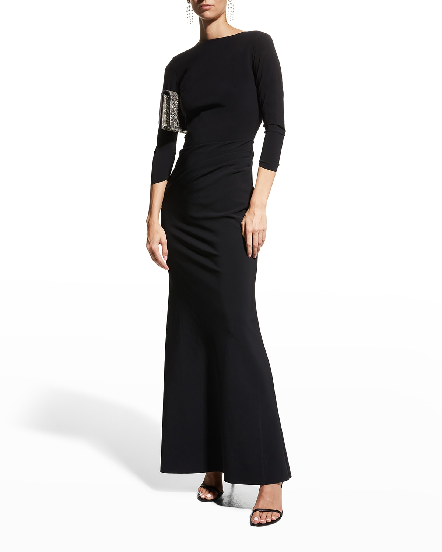 Klaida Low-Back Jersey Gown