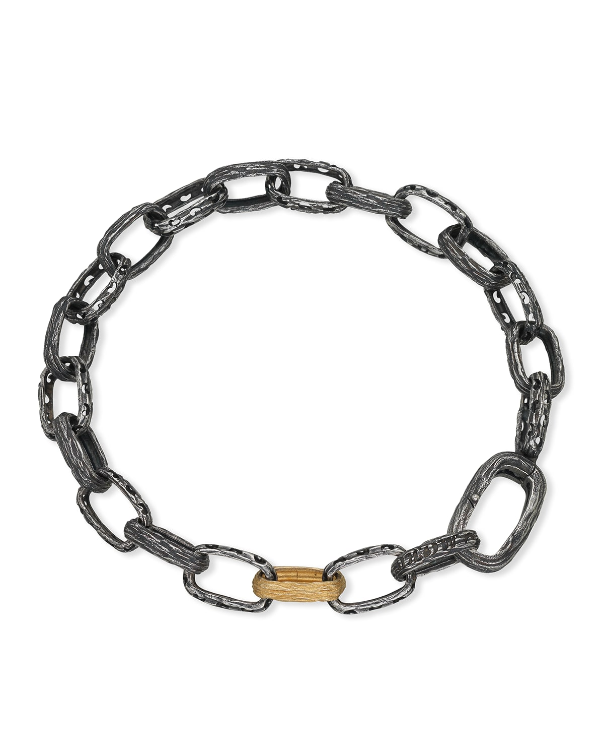 The Warrior Link Bracelet in Oxidized Silver with 18k Gold
