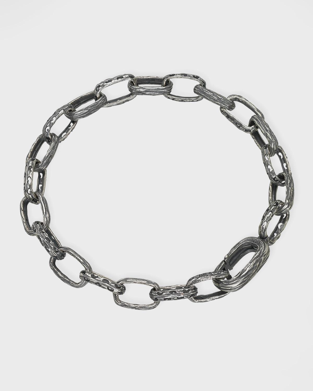 The Warrior Link Bracelet in Oxidized Silver