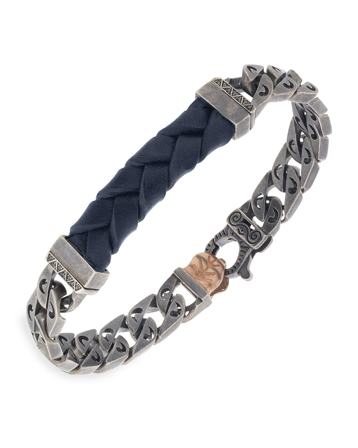 Flaming Tongue Leather Chain Bracelet with Black Diamonds