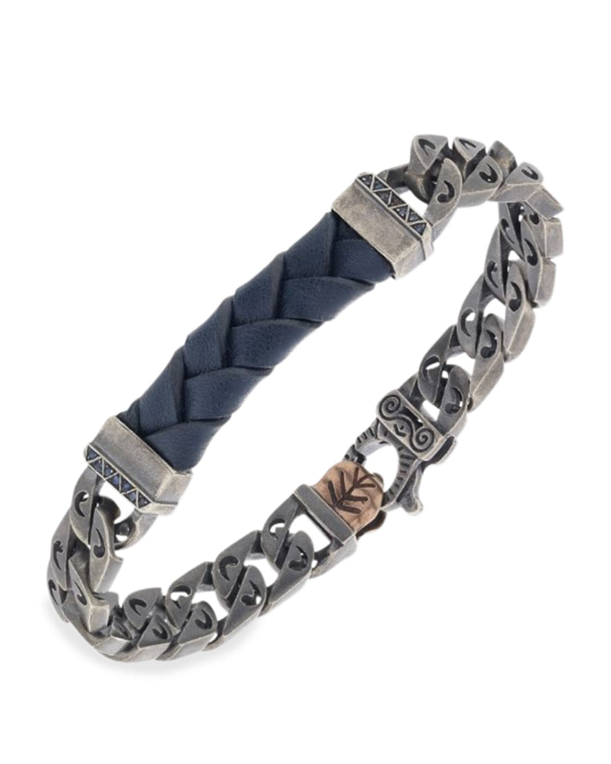 Flaming Tongue Leather Chain Bracelet with Blue Sapphires