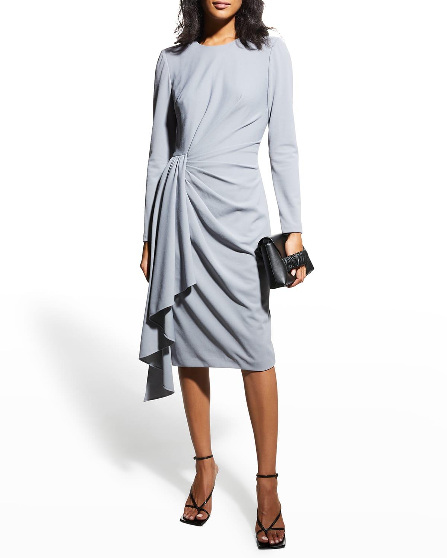 Long-Sleeve Cascading Side-Draped Dress