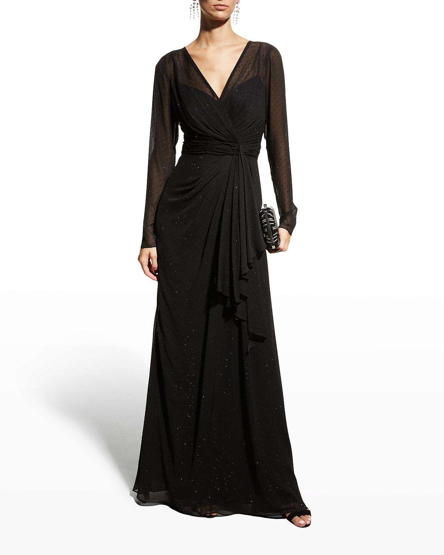 Stud-Embellished Georgette Gown