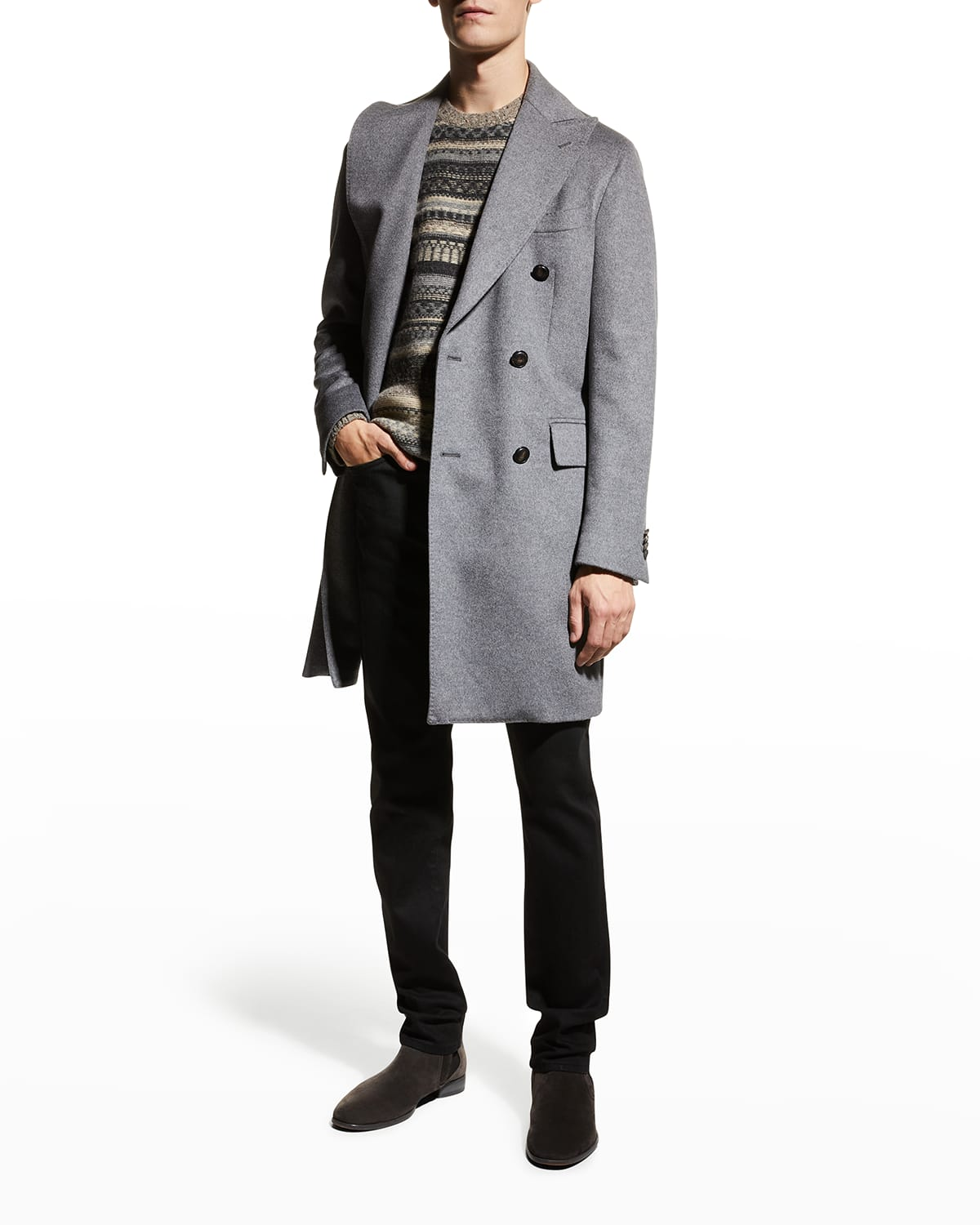 Men's Double-Breasted Wool-Cashmere Topcoat