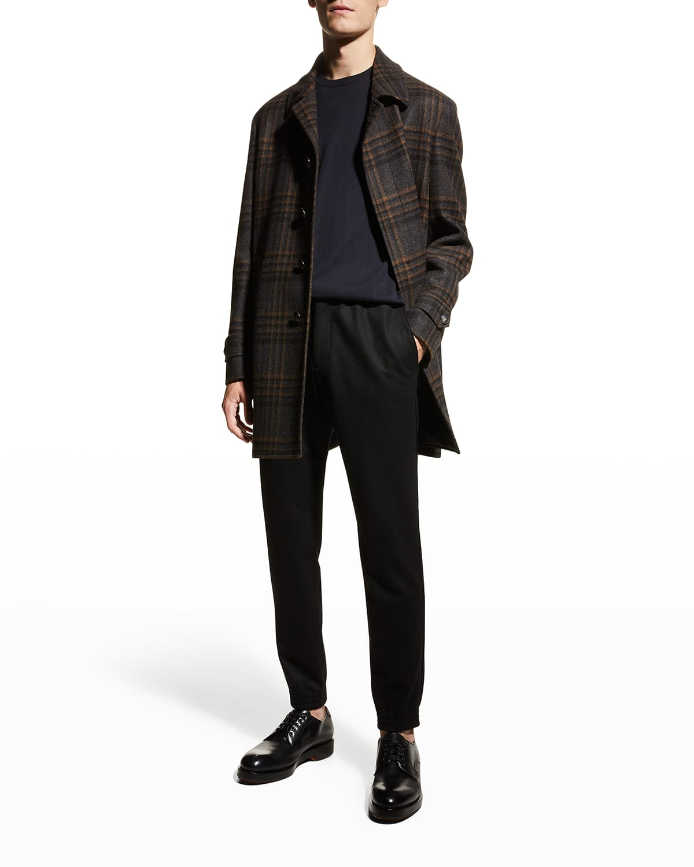 Men's Plaid Wool Topcoat