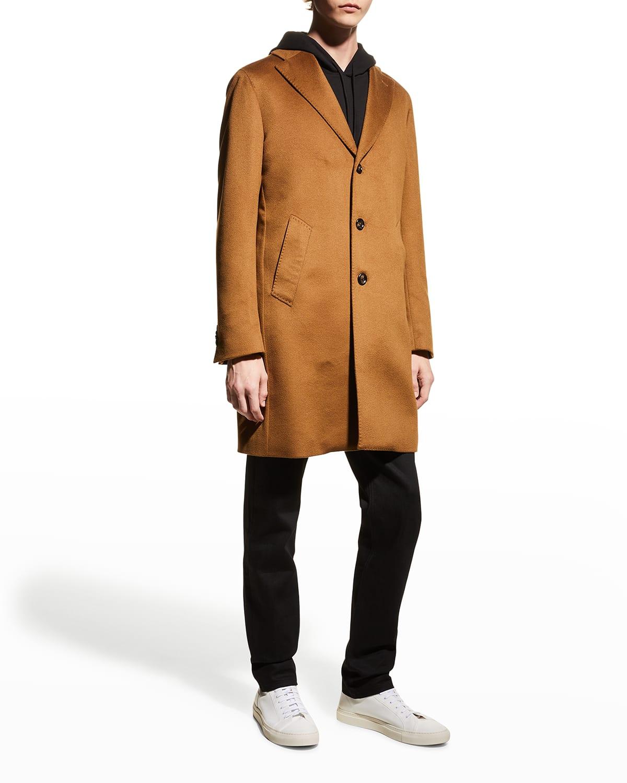 Men's Solid Cashmere Topcoat