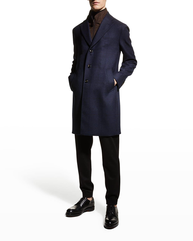 Men's Plaid Topcoat w/ Micro-Suede Bib