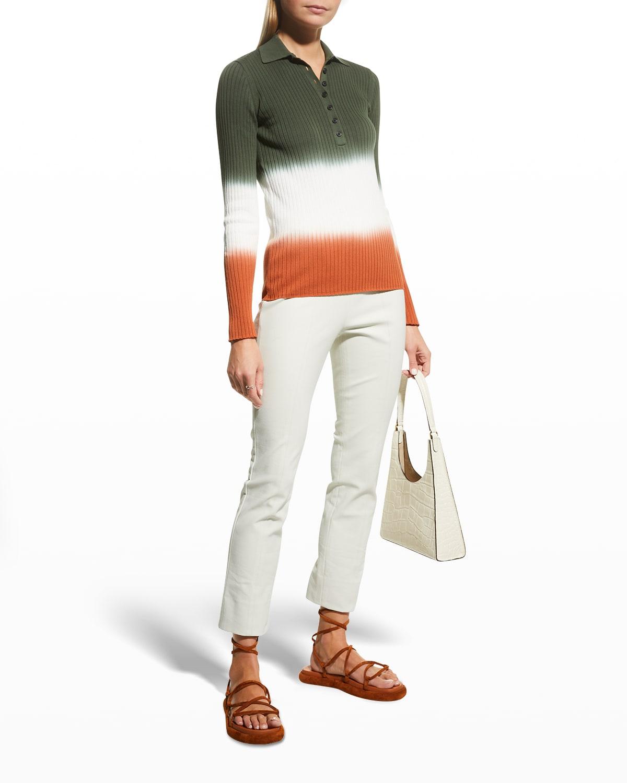 Lisel Rib-Knit Long-Sleeve Polo Shirt