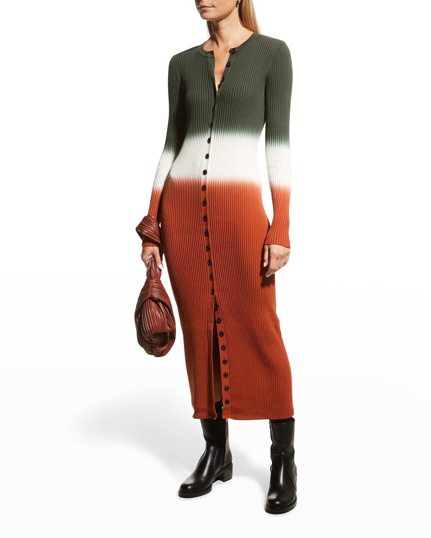 Tianna Button-Front Rib-Knit Dress