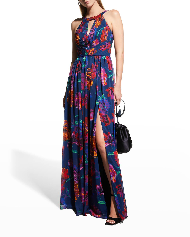 Floral Chiffon Halter Gown