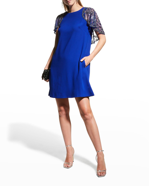 Beaded Capelet Crepe Dress