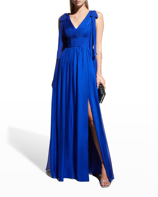V-Neck Bow-Shoulder A-Line Gown