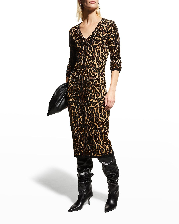 Leopard Jacquard Midi Dress