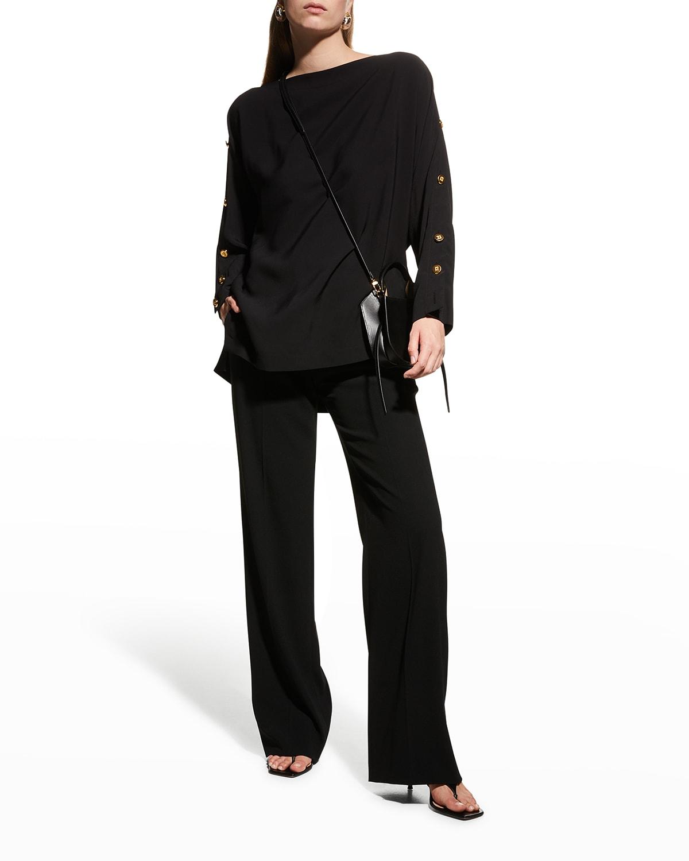 Button-Sleeve Tunic Blouse