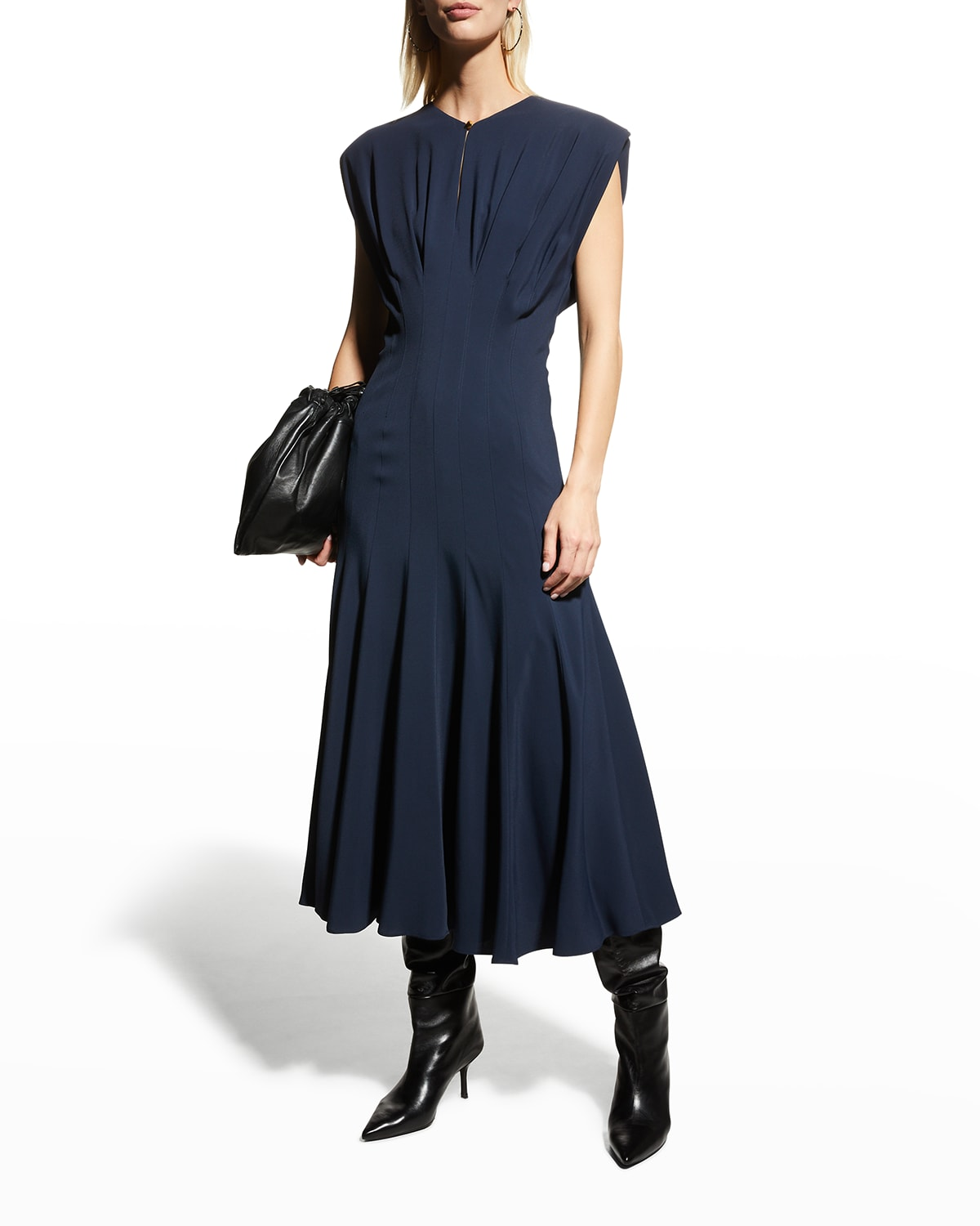 Strong-Shoulder Pleated Midi Dress