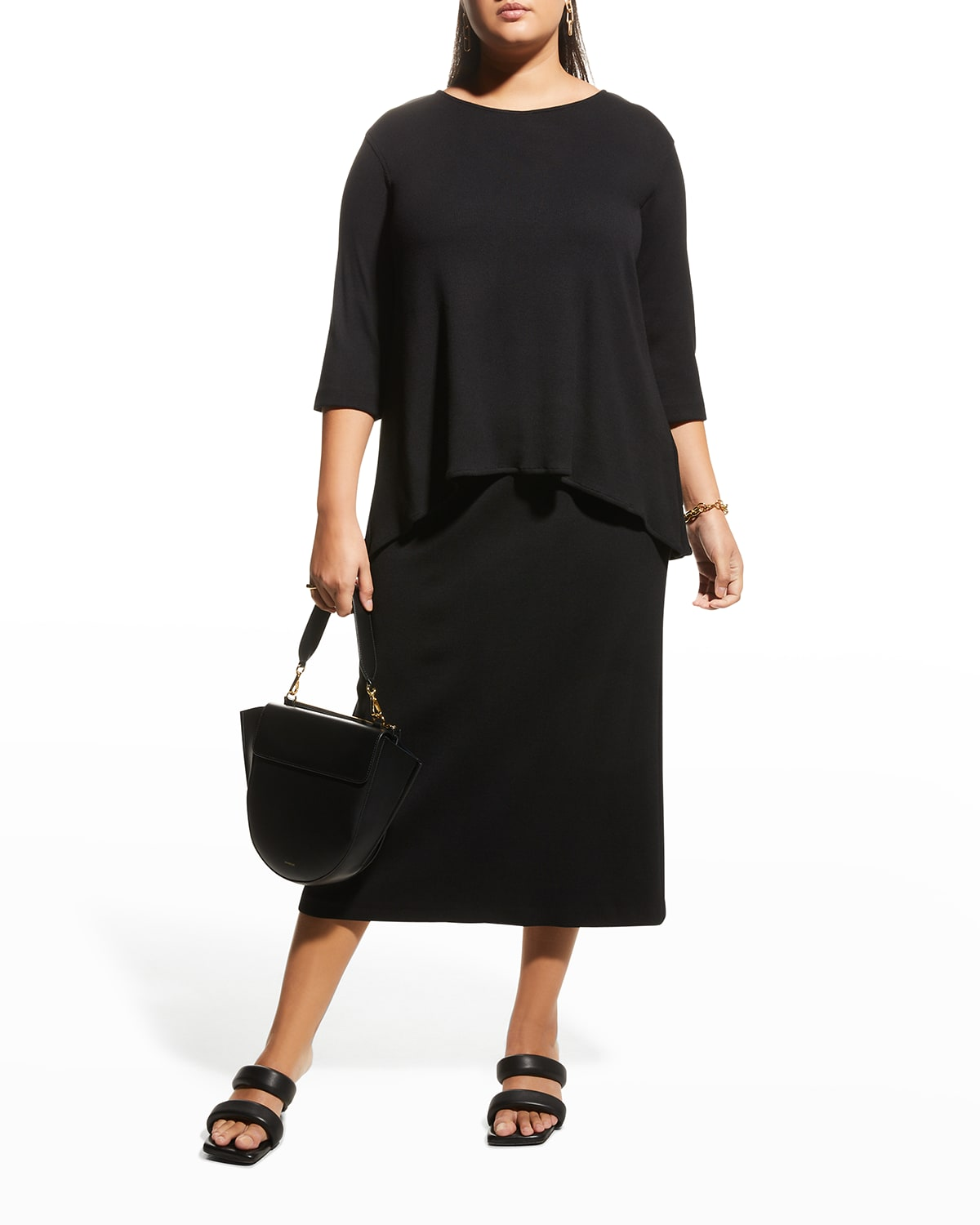 Plus Size Relaxed Rib-Knit Tunic