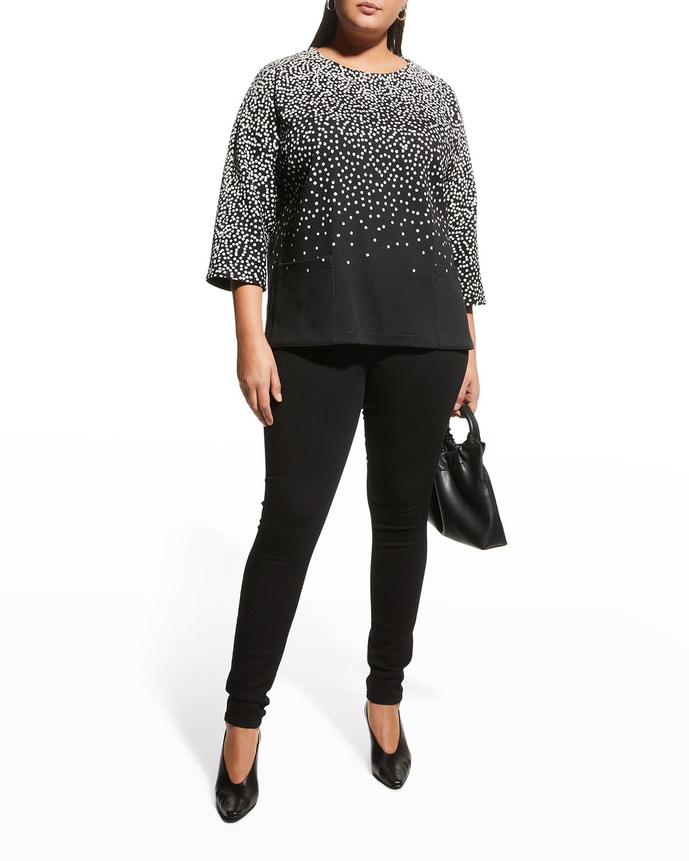 Plus Size Dot-to-Dot Dolman-Sleeve Top