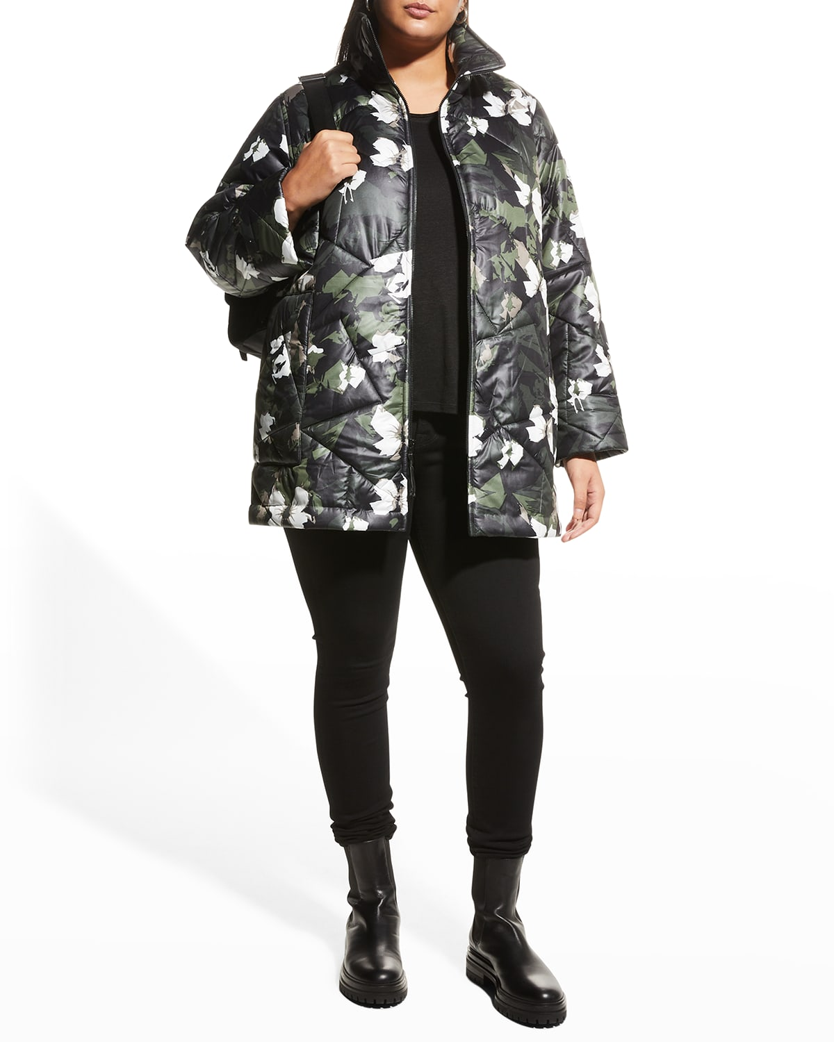 Plus Size Quilted Zip-Front Jacket