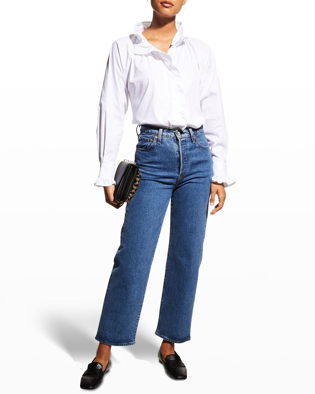 Frankie Long-Sleeve Poplin Ruffle Shirt