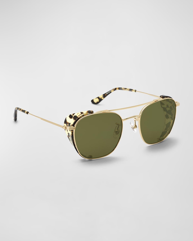 Earhart Blinker Metal Aviator Sunglasses w/ Side Shields