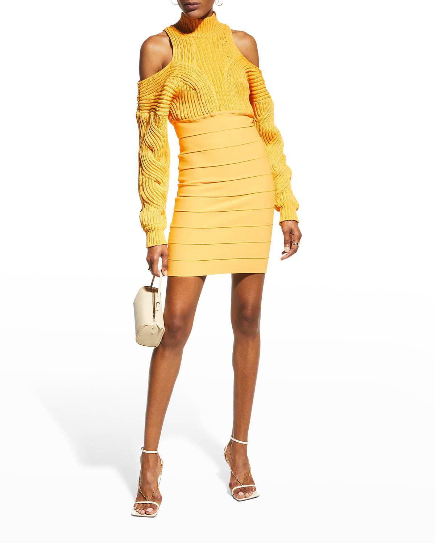 Mixed-Media Cold-Shoulder Mini Dress