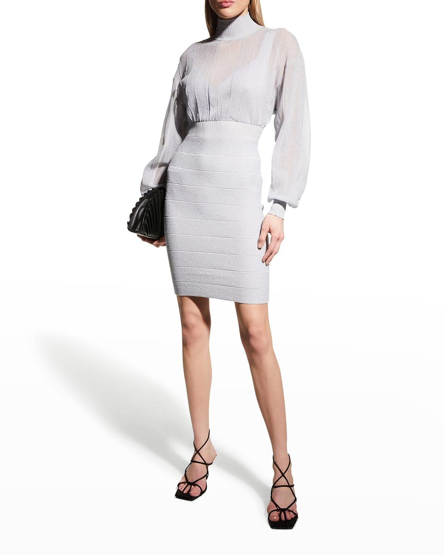 Illusion Knit Bandage Dress