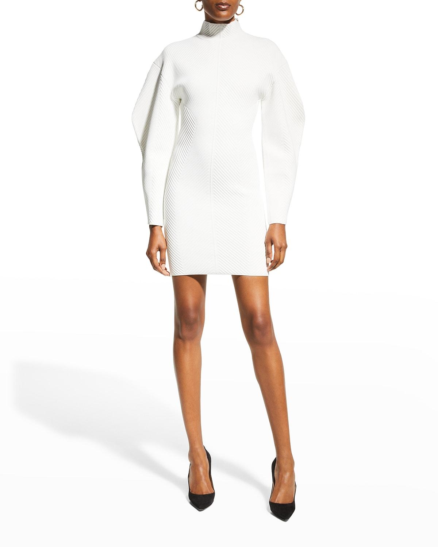 Contour-Stripe Puff-Sleeve Mini Dress