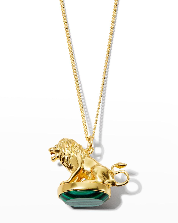 Valor Lion Pendant Fob Necklace with Malachite