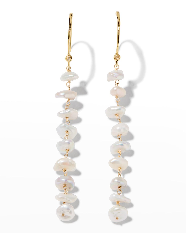 Asterales Long Pearly Drop Earrings
