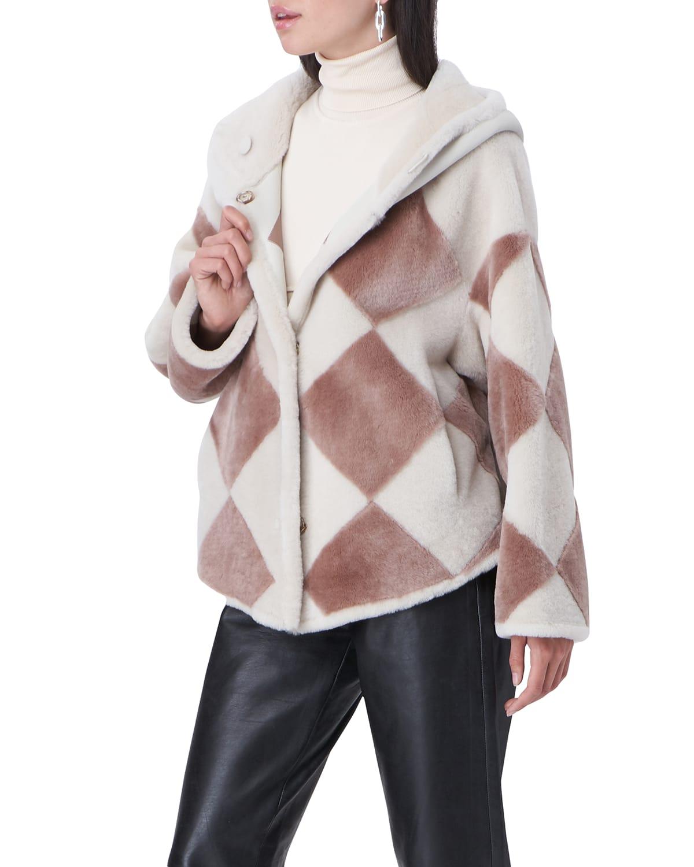 Hooded Reversible Diamond Shearling Jacket
