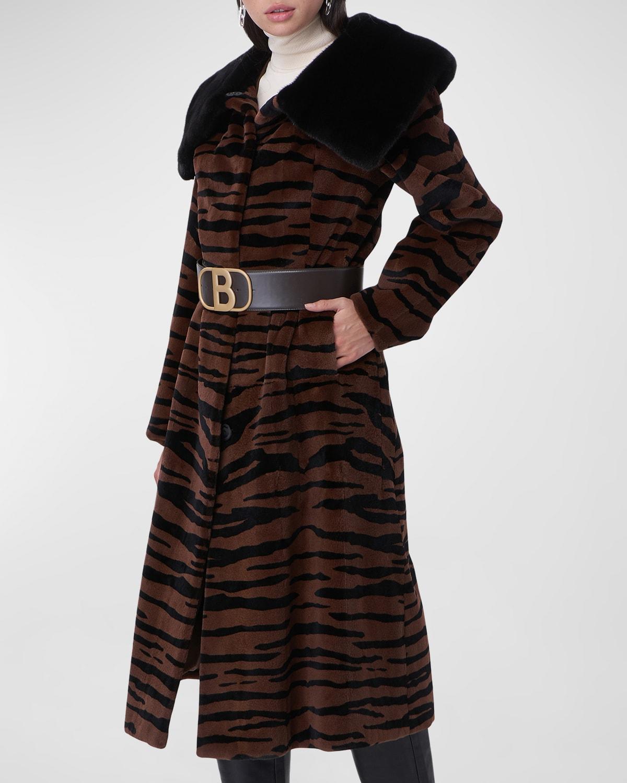 Zebra-Print Belted Mink Fur Jacket