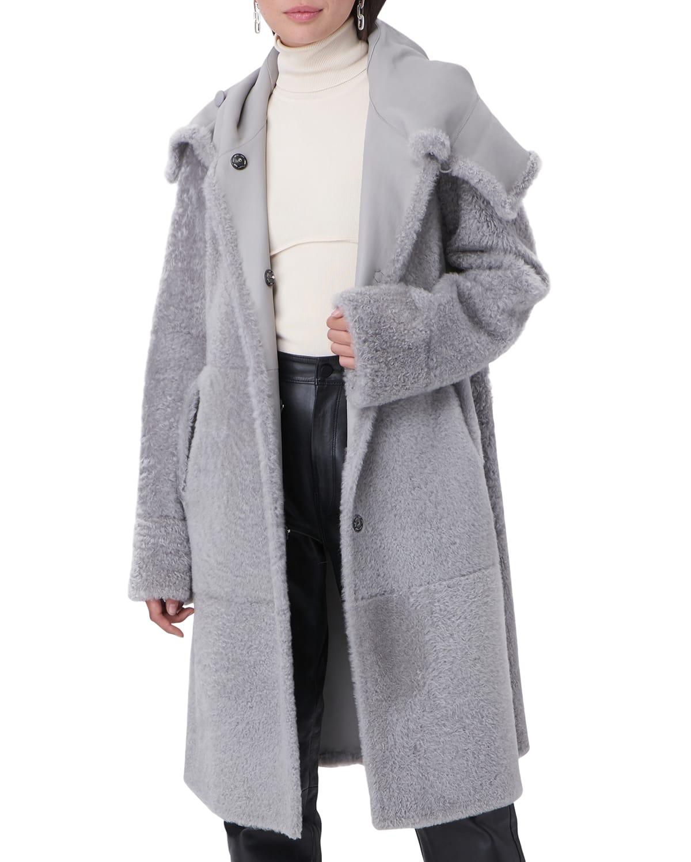 Hooded Reversible Shearling Parka Jacket