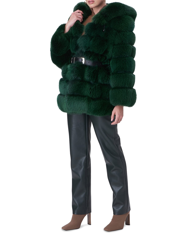 Belted Horizontal Fox-Fur Parka Jacket