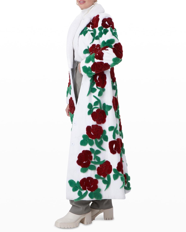 Floral-Intarsia Long Mink Fur Coat