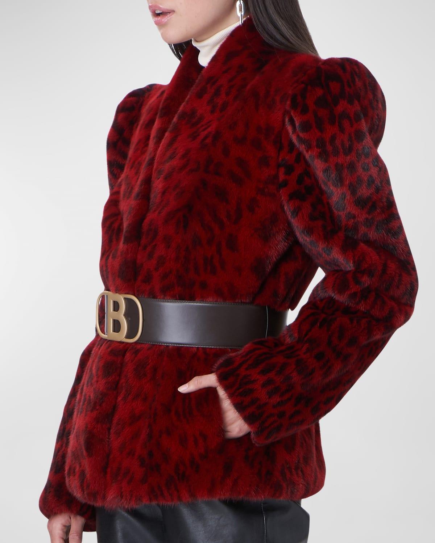 Leopard Print Puff-Sleeve Fur Jacket