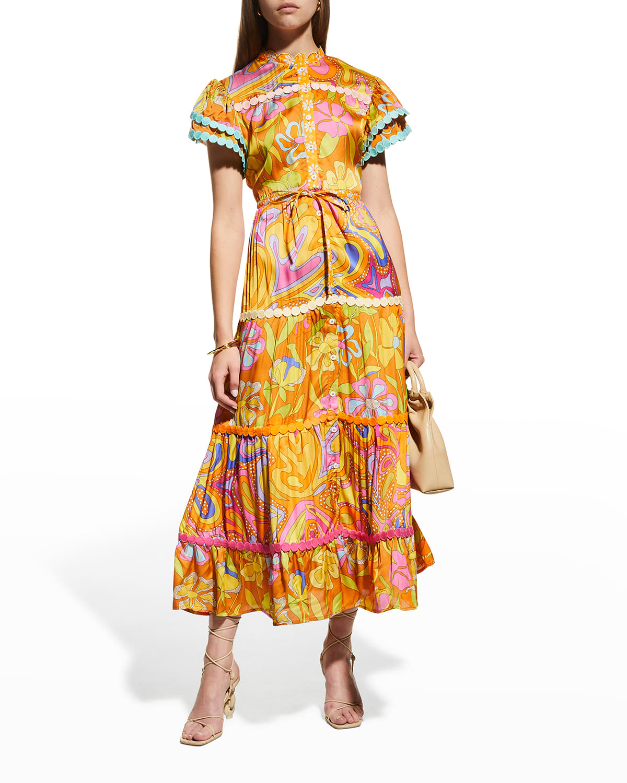 Lobelia Tiered Floral Shirtdress