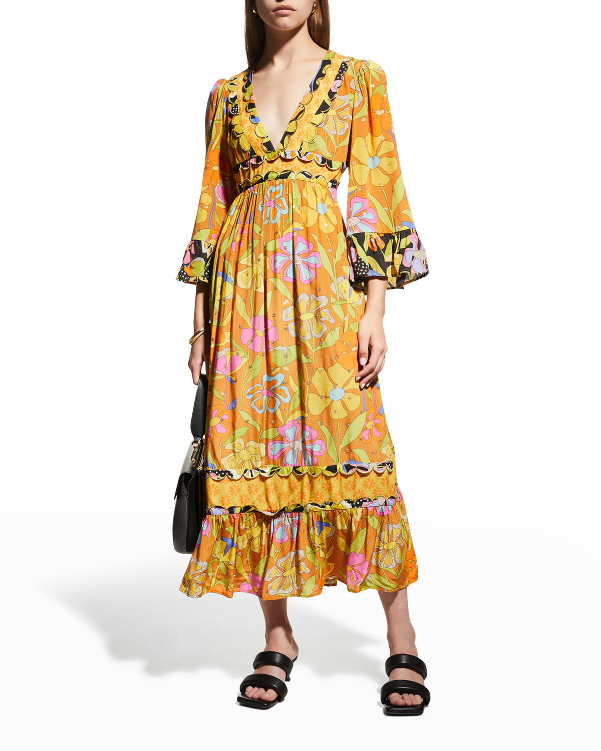 Gardenia Midi Floral Dress with Embroidery