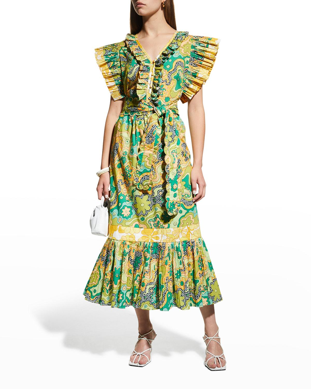 Sun Flower Midi Floral Dress