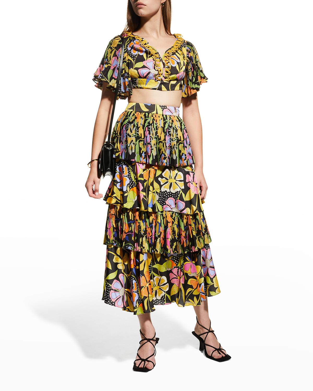 Pasiflora Tiered Midi Ruffle Skirt
