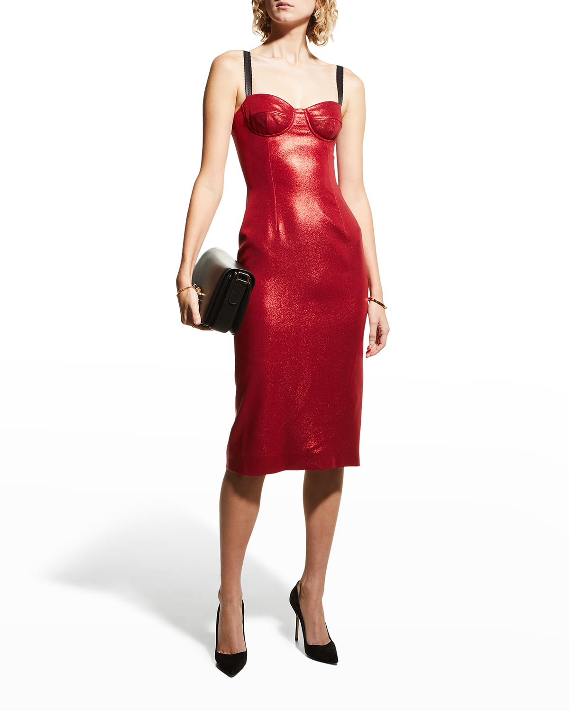 Tubino Laminated Bustier Midi Dress