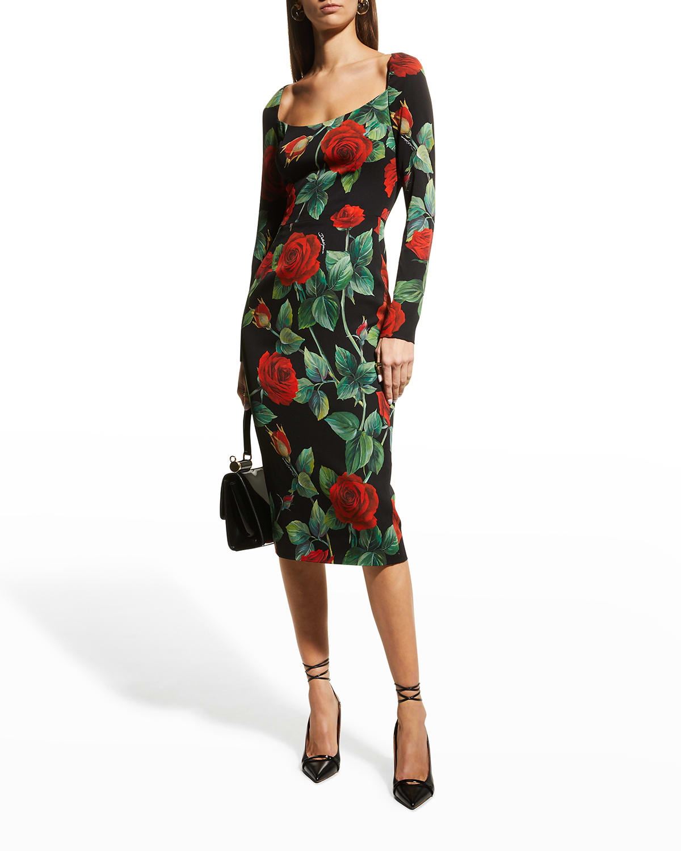Rose-Print Midi Sheath Dress