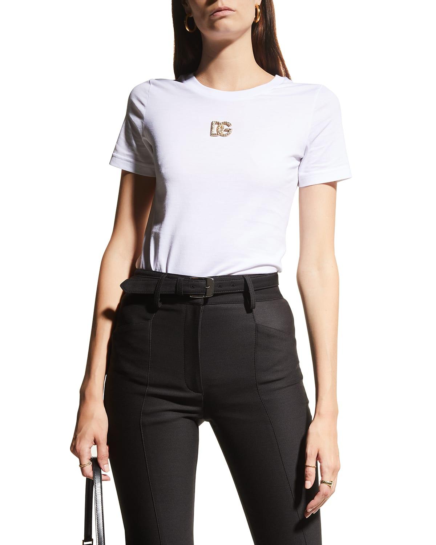 Jersey Short-Sleeve Top w/ Logo Applique