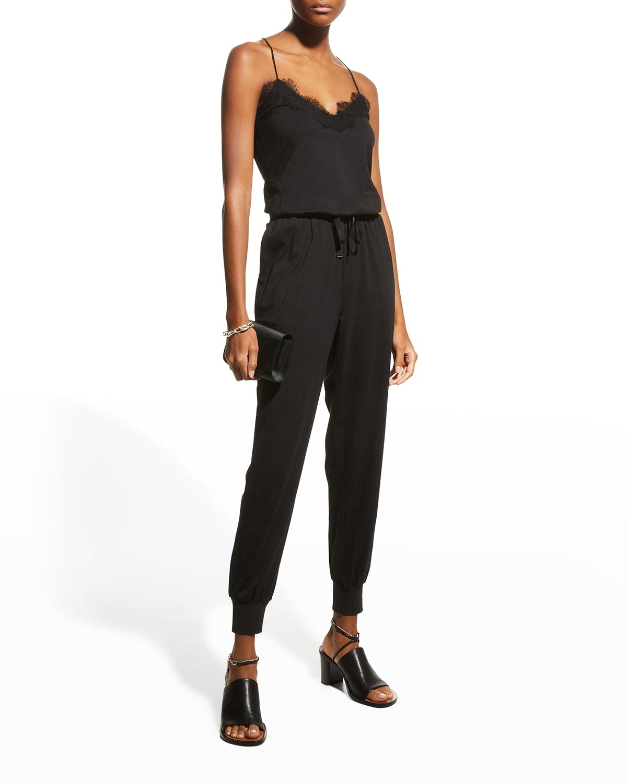 Estella Lace-Trim Jersey Jumpsuit