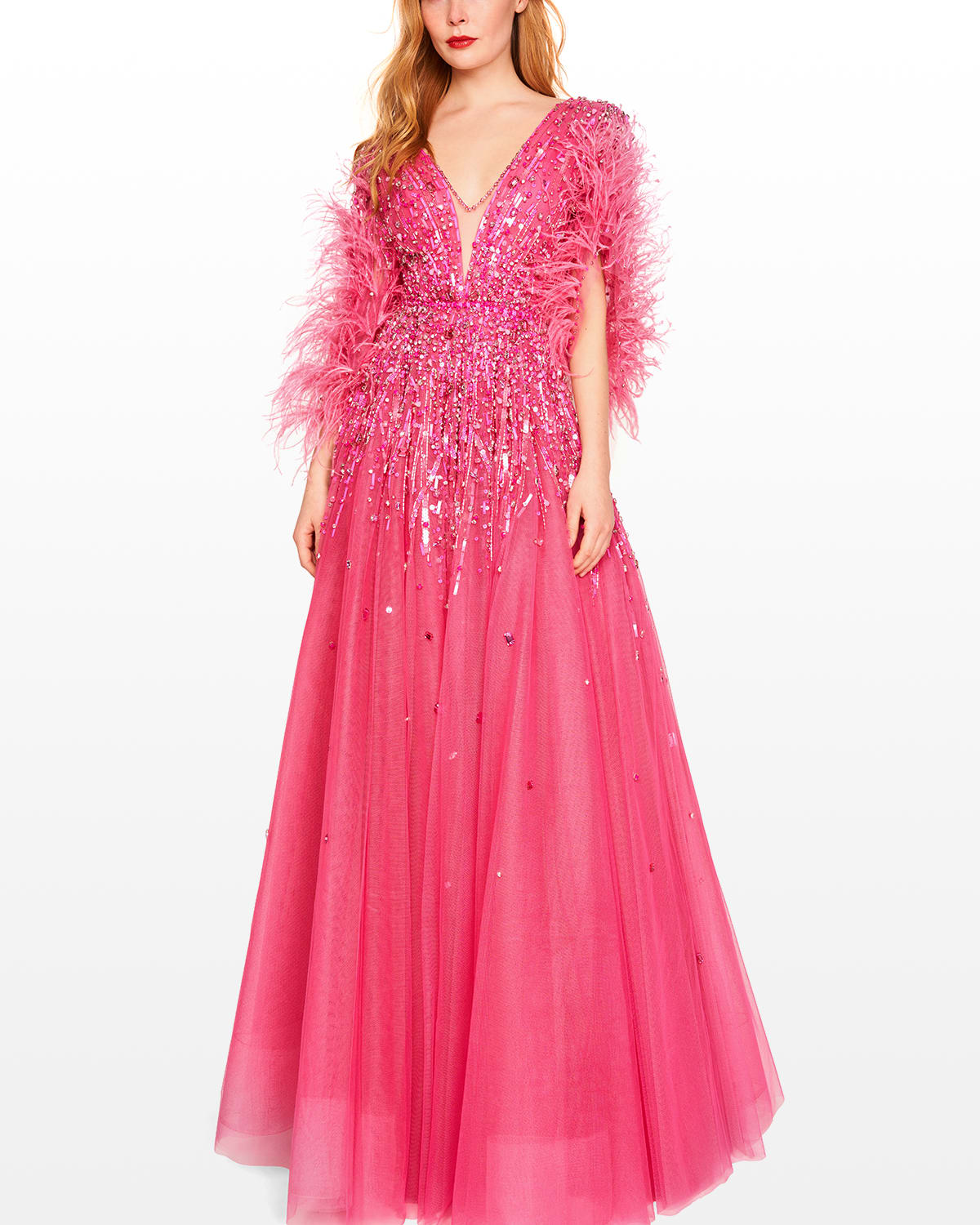 Tabitha Beaded Gown w/ Feather Trim