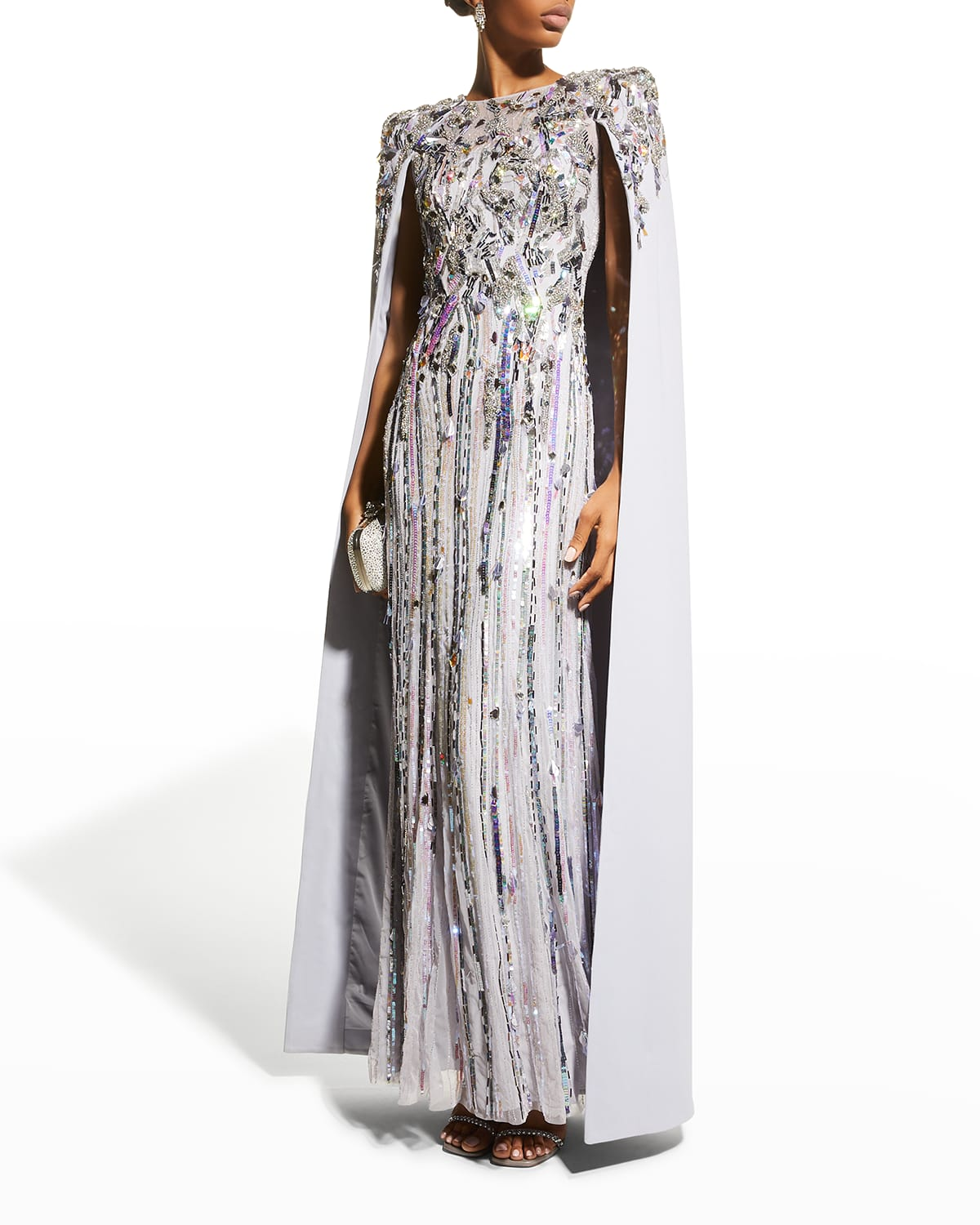 Christina Beaded Cape Gown