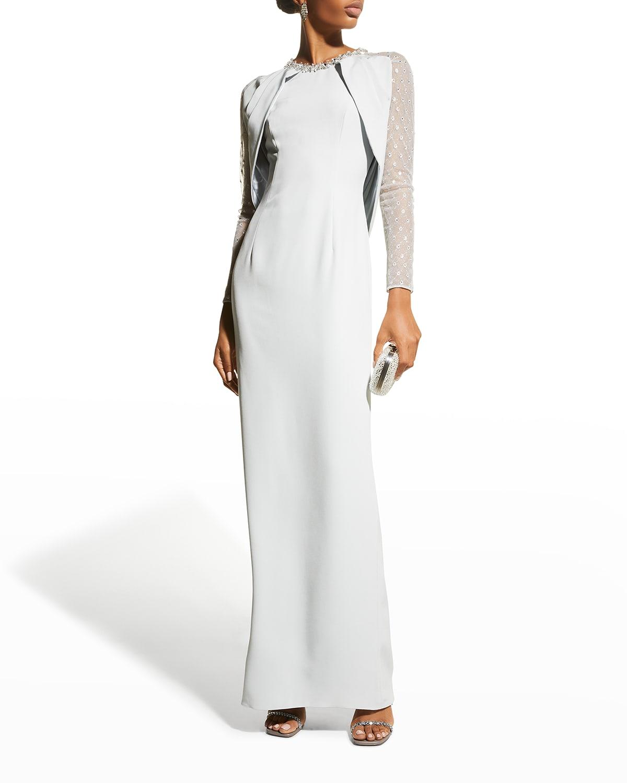 Chloe Cape Gown w/ Crystal Embellishment