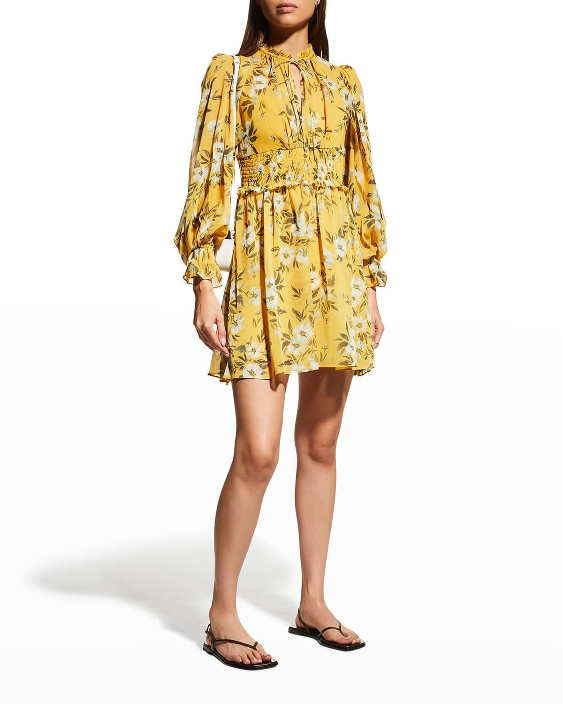 Floral-Print Blouson-Sleeve Short Dress