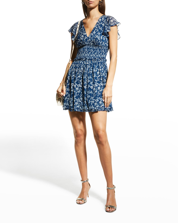 Floral V-Neck Smock-Waist Short Dress