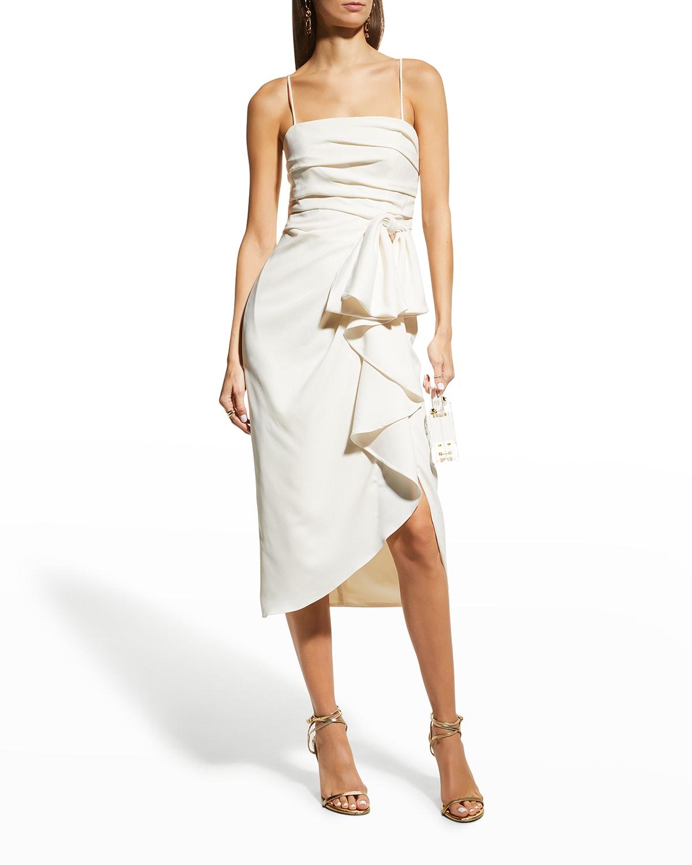 Spaghetti-Strap Bow Drape Midi Dress